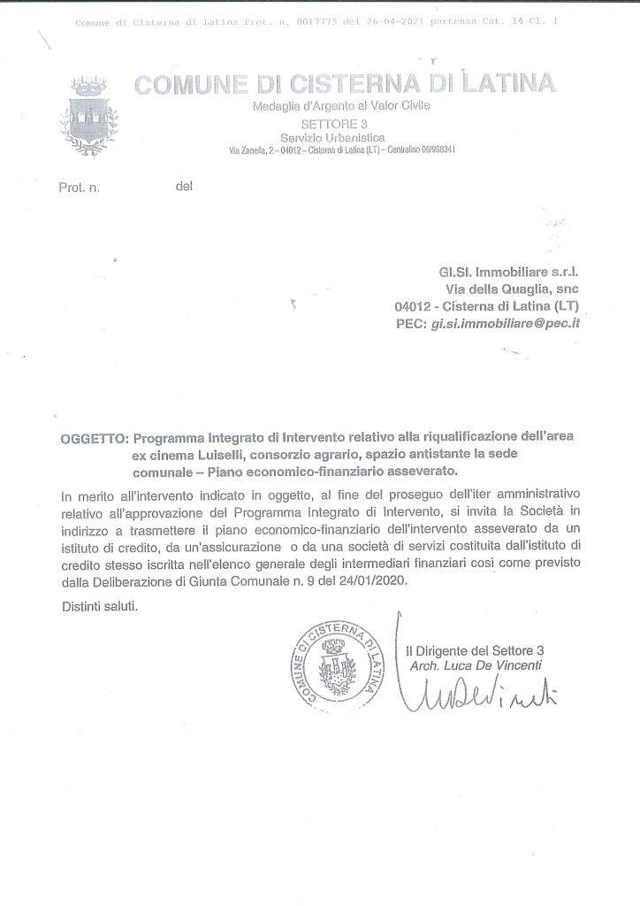 Comunicazione del 26-04-2021 - Richiesta documentazione Piano Economico-finanziario dell'intervento asseverato.