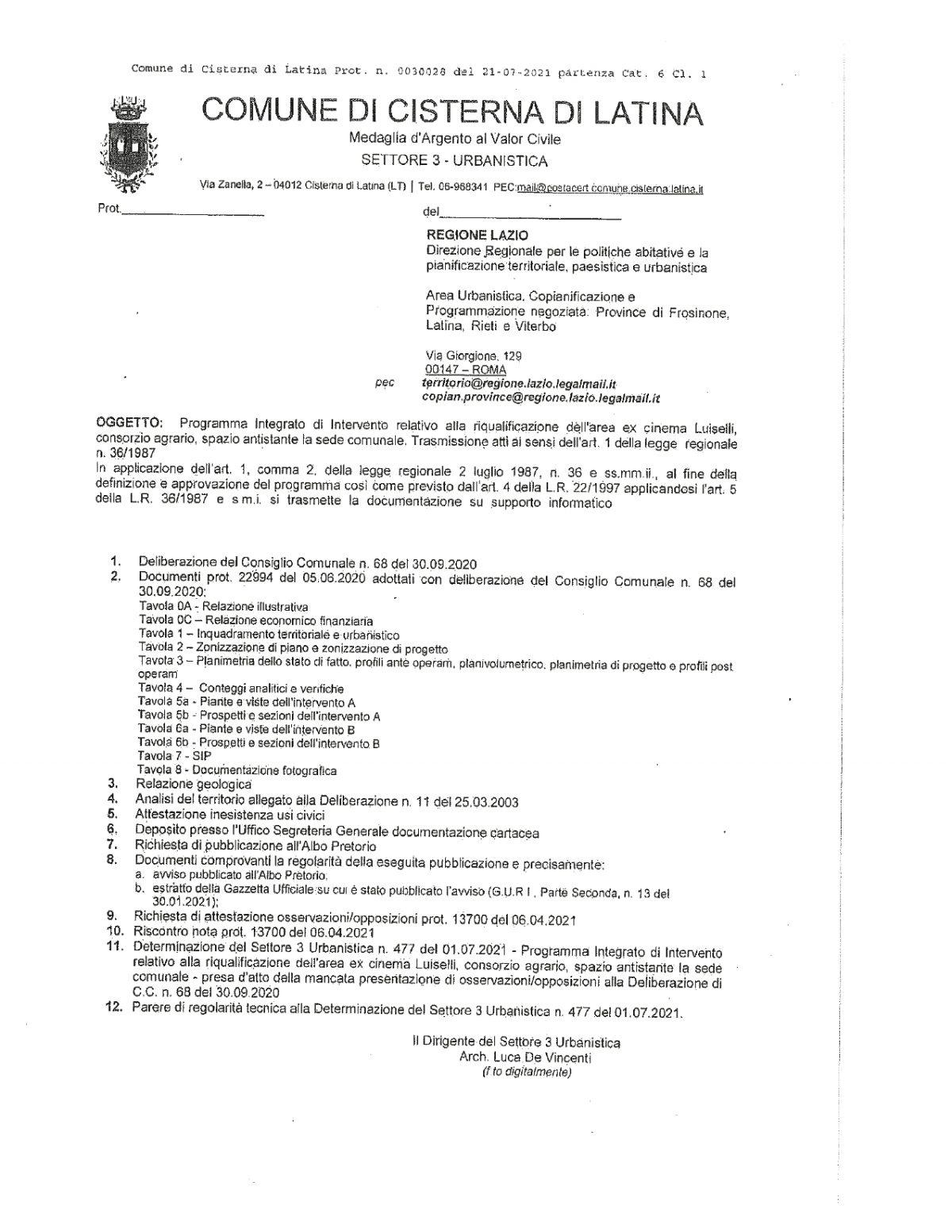 Doc. del 21.07.2021Trasmissione Atti alla regione Lazio